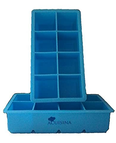 Extra-Large Silicone Tray, 2 Slow Melting Ice Cubes By Acuisina - 2 Pack, for Portion Control, Broth Cubes, Wine, Pesto, Baby Food, Ice Pop, Frozen Yogurt, Soap, Chocolate or Cake Mold. Bonus Recipes by Acuisina