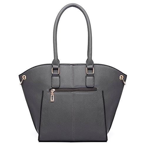 Miss Lulu, Borsa a spalla donna 6615 Grey