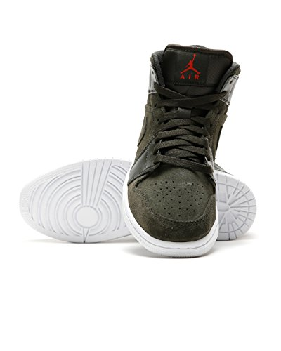NIKE AIR JORDAN I MID SEQUOIA/MAX ORANGE-WHITE