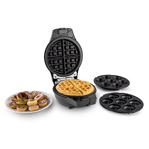 oneConcept Trinity Mini forno automatico 3in1, cupcake, waffel, muffin, ciambelle (stampi intercambiabili in alluminio, antiaderente, (Compleanno Speciale Piastra)