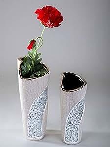 Exclusif décoratif vase à fleur de vase en céramique et en verre mosaïque d'argent Hauteur 33 cm