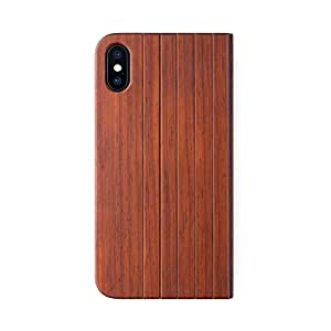 iATO iPhone X/XS Book Type Case - Real Rose Wood Grain Premium Protective Front & Back Cover - Unique Folio Flip Bumper Accessory for iPhone X (2017) & XS (2018) - Supports Wireless Charging