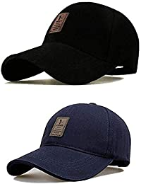CAPS FOR MENS EDIKO Men's Mesh Snapback Baseball Cap for Hunting, Fishing, Outdoor Activities, Combo Pack, (Free Size, Black and Blue, Pack of 2)