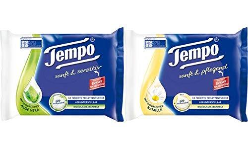 Tempo Feuchte Toilettentücher sanft & sensitiv,mit Aloe Vera, Sie erhalten 1 Packung, Packungsinhalt: 42 Stück -