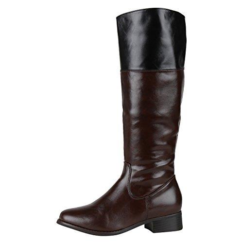 Damen Reiterstiefel Leder-Optik Langschaft Boots Klassisch Braun Brown 39 Jennika (Kleid Leder Braun Stiefel)