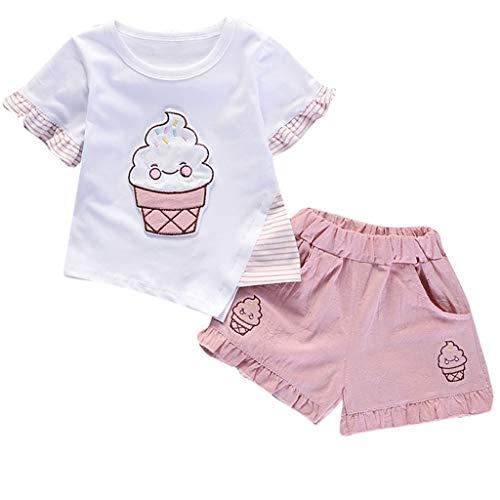 JUTOO Baby Mädchen 2 Stücke Set Kleinkind Eiscreme Kirsche Geraffte Tops + Feste Hosen Hose Outfits Set (A,80) (Das Für Kleinkind-bett Zelte Feste)