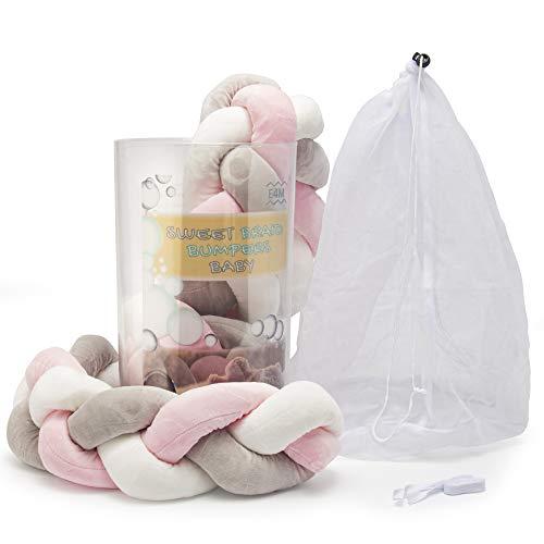 Paracolpi lettino 4 lati paracolpi culla neonato protezione letto per bambini treccia imbottito riduttore lettino cuscino lettino set protezione bimbo