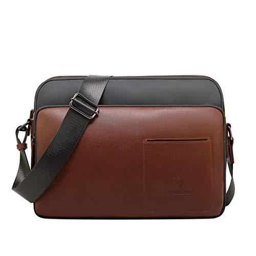 CUIBIRD Umhängetasche Herren Klein Leder Lässig Crossbody Tasche Mini Männer Canvas Messenger Bag IPAD Herrentasche Schultertaschen (Groß) -