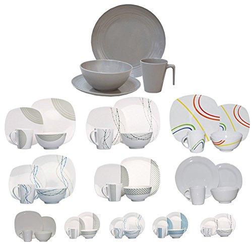 Vaisselle de camping/pique-nique en mélamine 16 pièces pour 4 personnes, design/couleur au choix, Seramika / Latte Rund