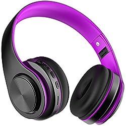 Casque Bluetooth sans Fil, Casque Audio avec Microphone intégré Over Ear, MeihuaTu Casque Portable stéréo Hi-FI avec Earmuff Souples Pliable pour Téléphone, Tablettes PC-Violet & Noir