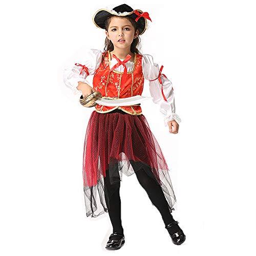 Braut Prinzessin Piraten Kostüm - HSKS Halloween Mädchen, Piraten Cosplay Kostüm Cosplay Prinzessin Kleid Tanzkleid-S