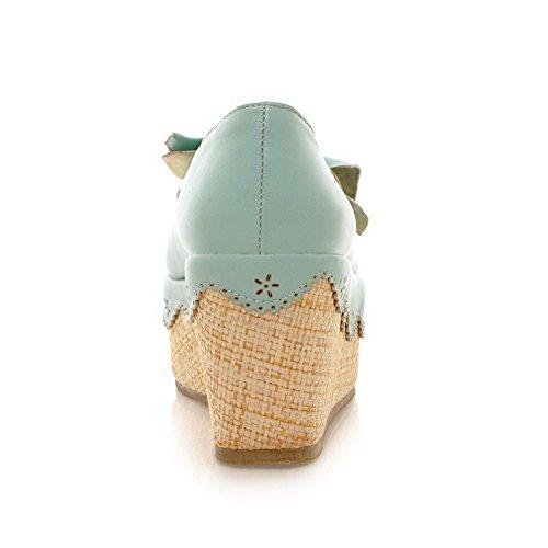 VogueZone009 Femme Tire Rond à Talon Haut Matière Souple Couleur Unie Chaussures Légeres Bleu