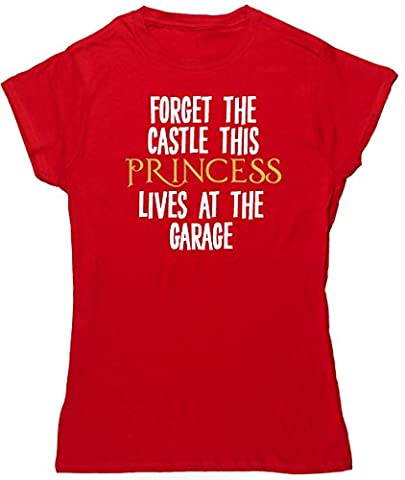 HippoWarehouse Forget the castle this princess lives at the garage womens fitted short sleeve t-shirt