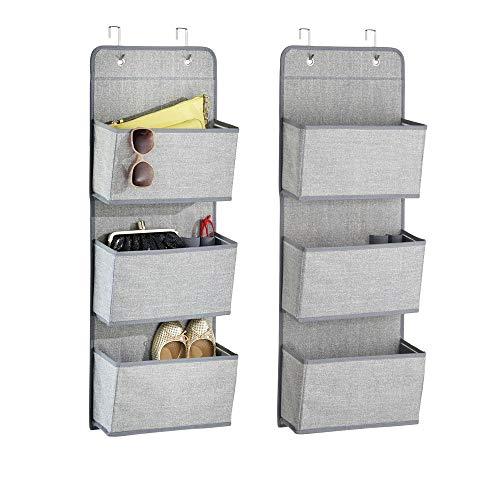 Mdesign set da 2 portaoggetti in stoffa da appendere – organizer armadi per bambini – portaoggetti da appendere con 3 scomparti - colore: grigio