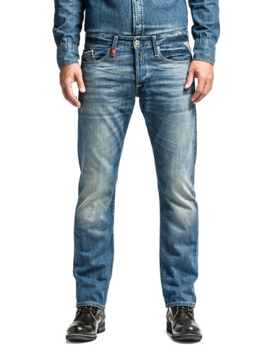 Replay Herren Regular Slim Leg Jeans Waitom, Blau (Blue Denim 009), W32/L34 (Herstellergröße: 32)