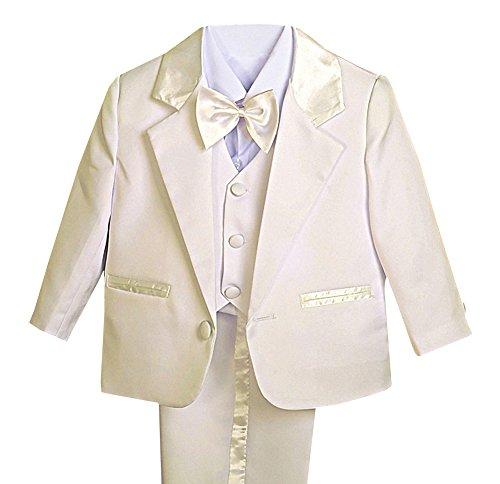 (Lito Angels Baby Jungen 5 Stück set Formale Tuxedo Anzug Taufe Taufanzug Gr. 6-9 Monate Elfenbein)