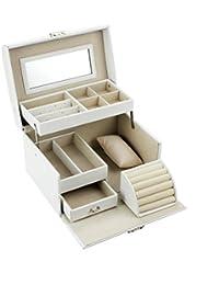 HBF Caja Joyero Organizador Con Espejo Blanco Piel Caja Joyero Relojes Con Cajones Organizador Para Bisuterías Pendiente Collar