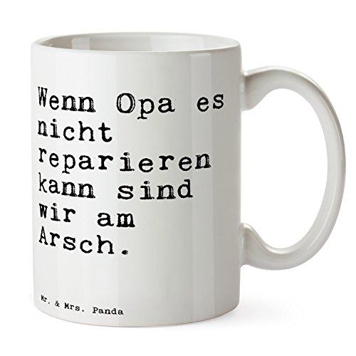 Mr. & Mrs. Panda Tasse mit Spruch Wenn Opa es Nicht reparieren kann, sind wir am Arsch.