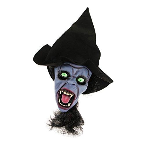 (Baoblaze Horrormaske Clown Hexe und Zombie Latex Maske Halloween Cosplay und Karneval Kostüm Accessoires, Eine Größe für alle Menschen, Bequem und Atmungsaktiv - Dunkle Nacht Hexe)