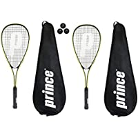 Prince Power PL150 Squash raquetas + 3 pelotas de Squash and Covers