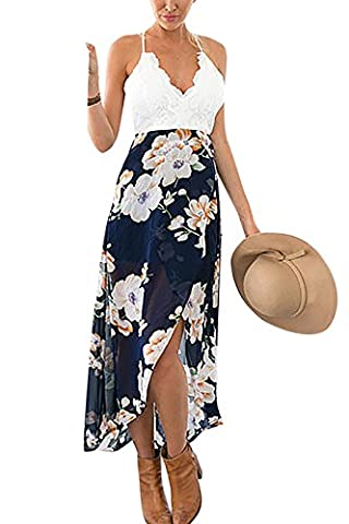 YOINS Women Floral Print Wrap Front Maxi Dress with Lace For Summer Beach Party Floral Print UK8-10
