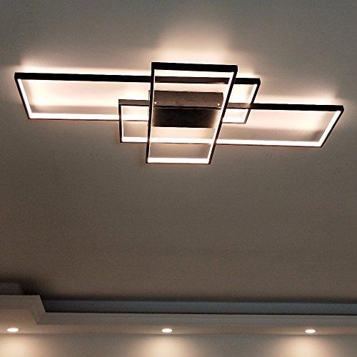 Rechteck Aluminium moderne LED Deckenleuchte für Wohnzimmer Schlafzimmer Lampe Spielplan, schwarz-1050 × 600 mm-Helligkeit dimmbar Weihnachten Thanksgiving Geburtstag Neujahr Geschenk -