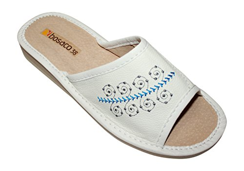 Pantofole Da Donna, Scarpe Da Capanna, 100% Vera Pelle Bianca