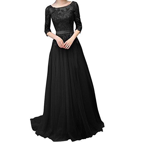 Charmant Damen Dunkel Rosa Spitze langes Abendkleider Promkleider Ballkleider Festlichkleider Neuheit Schwarz