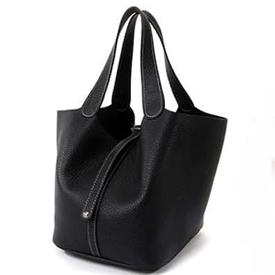 Violett-TINYMEL (black) Leather Tote Bag