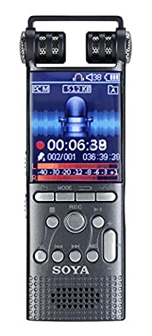 SOYA Digital Voice Recorder, Voice Activated Record One-Touch Sound Stereo Recorder Rechargeable Dictaphone LCD MP3 Player Flash Drive with 8GB/16GB Built-in-Memory for Classes Lectures Meetings Learning Notes (X26-16G)