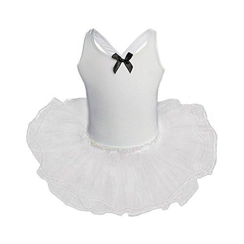 Baby Kapuzenpulli Honestyi Kleinkind Mädchen Gaze Trikots Ballett Body Dancewear Kleid Kleidung Outfits (Weiß,120)