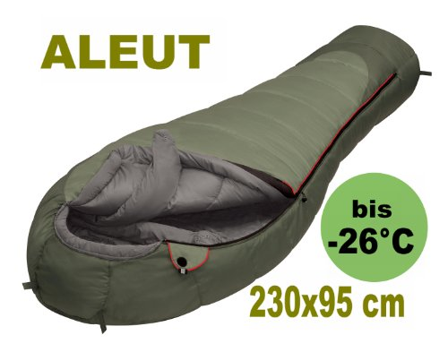 Alexika Extrem Schlafsack Mumienschlafsack -26° - Aleut für allerhöchste Ansprüche und extremste Temperaturen ,Exclusiv-Maße 230 cm lang und 95 cm breit