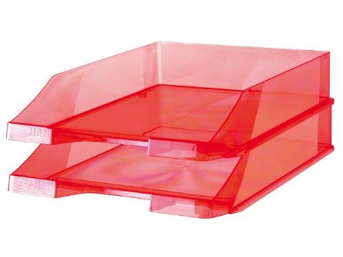 HAN Briefablage KLASSIK 1026-X-29 in Transparent-Rot/Hochwertige, stapelbare Ablage im modernen Design/Für Briefe & Papiere bis Format A4–C4, 6 Stück