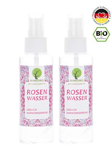 Bio Rosenwasser 100{48a74d89402285821732c3251903de4bcd82fd2cc6c4df56fc476d909a599da8} 2er Set | Gesichtswasser als Spray für Gesicht, Haut & Haare - Vegane Naturkosmetik für natürliche Pflege gegen unreine, trockene Haut & glanzloses Haar, 2 x 125 ml