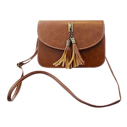 Milya Retro-Taschen Damen Handtasche Portemonnaie PU Leder Satchel Small Umhängetasche Mode-Design mit Quasten Sechs Farben sechs Arten von Auswahl Hellbraun -