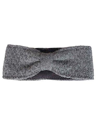 Zwillingsherz Stirnband mit Schleife - Hochwertiges Strick-Kopfband für Damen Frauen Mädchen - Mit Fleece - Wolle - Ohrenschutz - Haarband - warm und weich für Herbst Winter und Frühjahr grau