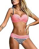Gladiolus Damen Bikini Push Up Streifen Tupfen Triangel Brasilianische Bademode Bikini-Sets Beachwear Badeanzug Pink M