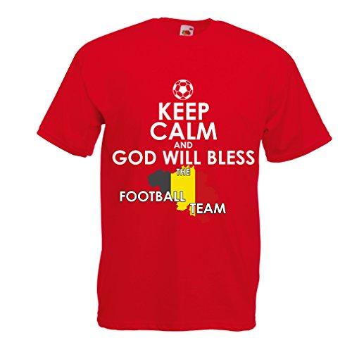 Männer T-Shirt Gott Wird die belgische Fußballmannschaft, die belgische Flagge segnen (X-Large Rot Mehrfarben)