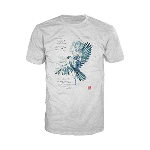 Beatles David Mack Blackbird Official Men's T-Shirt (Heather Grey) (Small) -