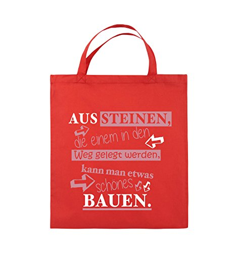 Comedy Bags - Aus Steinen, die einem in den Weg gelegt werden, kann man etwas schönes Bauen. - Jutebeutel - kurze Henkel - 38x42cm - Farbe: Schwarz / Weiss-Neongrün Rot / Rosa-Weiss