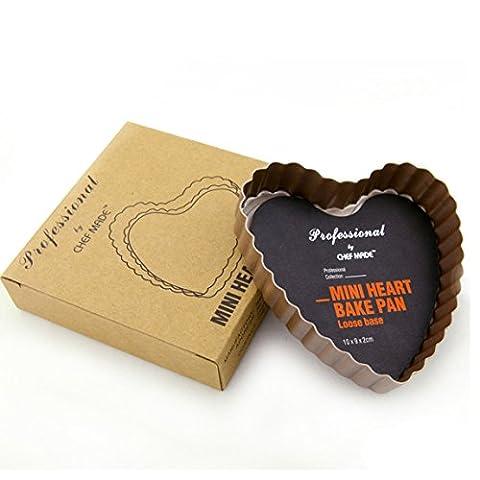 CAN_Deal Cœur Plaque de cuisson anti-adhésive lâche base Moule à Tarte Cannelé/quiche Pan, 10cm