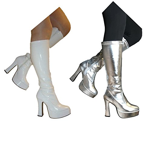 Superheld Schuhe (Fancy Dress gogo Plattform Superhelden Party 60er 70er Retro Stiefel Weiß oder Silber)