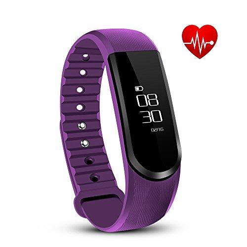 Tonbux Fitness Tracker ID101 HR Sport Armbanduhr Fitnessarmband Smart Bracelet Smartwatch für Android und iOS Smartphone(Lila)