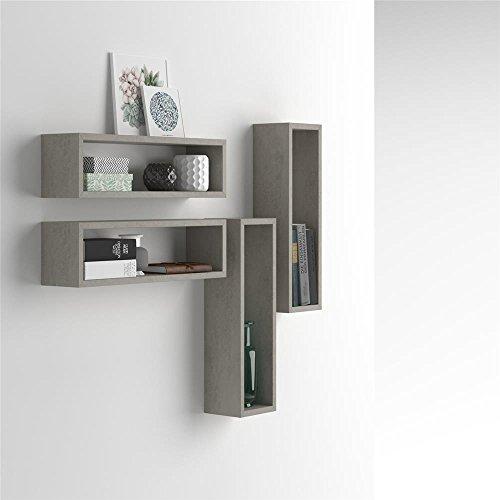 Mobilifiver set di 4 cubi da parete iacopo, cemento, 59 x 15 x 17 cm, nobilitato, made in italy, disponibile in vari colori