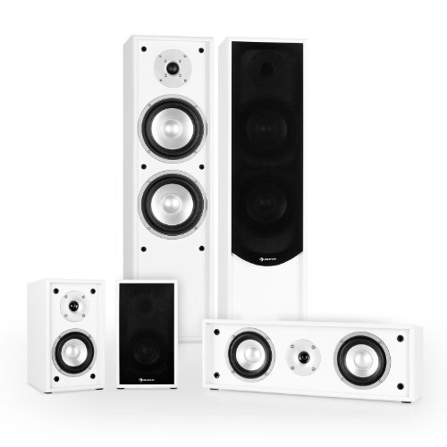 auna Line 300-WH Home Theatre Cinema HiFi Speaker System (265W RMS, Bass Reflex, 5.0 Channels amp; Gold Plated Speaker Connections) - White/Black