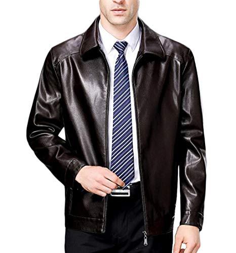 PFSYR Herren Business-Lederjacke, Revers Business Fashion, Flaum Liner warm und bequem im Herbst und Wintermantel (Farbe : Brown 2, größe : M) 2 Jacke Liner