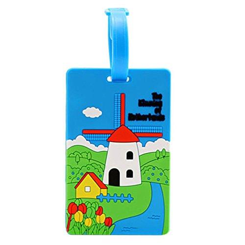 Silikon-Gepäckanhänger, farbenfrohes Motiv, für Name und Adresse Blue Windmill (Cute Boy Koffer)