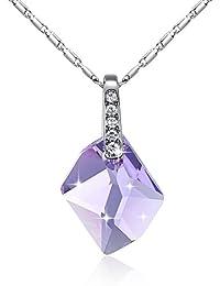 GoSparking oro blanco plateó el collar con el cristal austríaco Lila cristalino 18K de la aleación colgante para las mujeres
