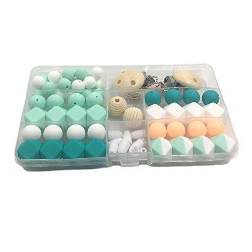 Inchant Chewable Perlen Beißring DIY Pflege Schmuck Kombi-Paket Blending natürliche runde Geometrie Hexagon Holzperlen Baby-Beißring Spielzeug-Set
