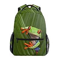 Hunihuni Frog Tree Durable Backpack College School Book Shoulder Bag Daypack for Boys Girls Man Woman